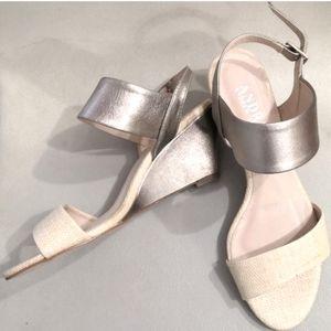 Andrew Stevens gold halter strap wedge sandals